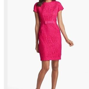 Taylor lace overlay hot pink dress size 6